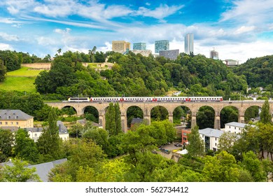 Train bridge in Luxembourg a beautiful summer day, Luxembourg