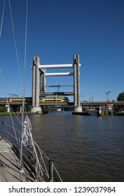Train bridge over canal named Gouwe.