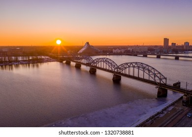 Train bridge over Daugava river in Riga, Latvia.