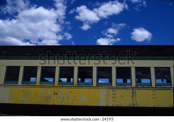 train car and sky