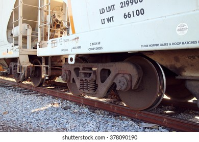 Train Car Wheels on Track Stopped