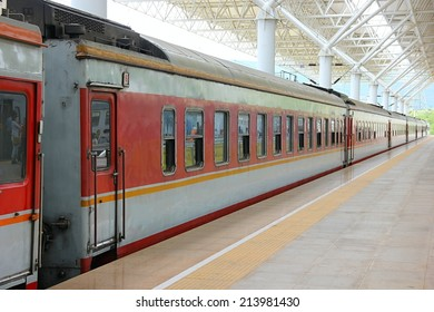 Train carriages with platform.