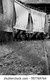 Train cars, black and white