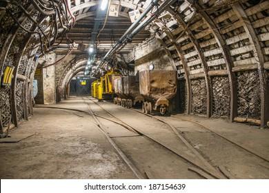 Train and carts in coal mine