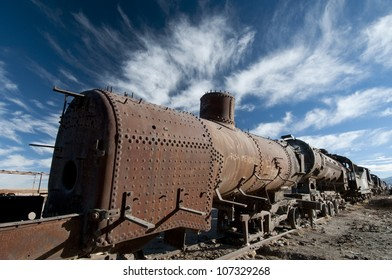 Train Cementery outside of Uyuni village, Salar de Uyuni,Potosi region,Bolivia, South America