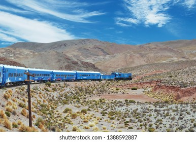 Train to the clouds in Salta Province, Argentina. The train olso called Tren de las Nubes is the fifth highest railway in the world.