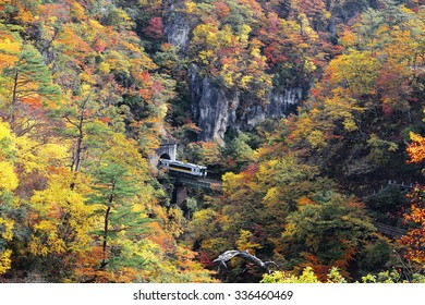 A train coming out of a tunnel onto the bridge over Naruko Gorge with colorful autumn foliage on vertical rocky cliffs, in Miyagi Prefecture Japan ~ Beautiful fall scenery of Northeastern Japan
