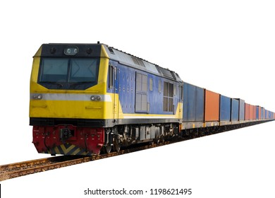 Train with container cargo on white back ground.