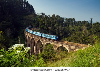 Train crossing Demodara Nine Arch Bridge, Ella, Sri Lanka