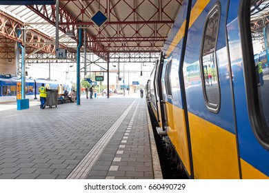 Train departing from Eindhoven station in the Netherlands