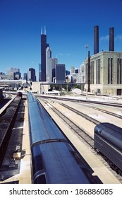 Train in downtown Chicago - seen from South Side