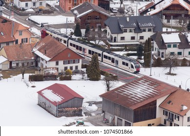 Train in Essener city. Essen is a city in North Rhine-Westphalia, Germany.Photo from the drone.