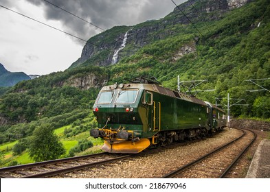 Train at famous Flam railway (Flåmsbana) line in Flam valley in Norway