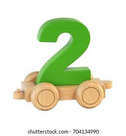 Train font on wheels number 2 3d rendering