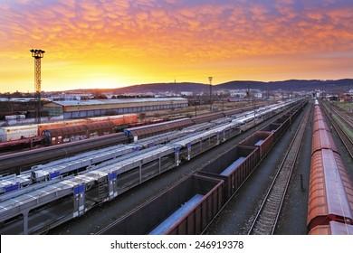 Train freight - Cargo railroad industry