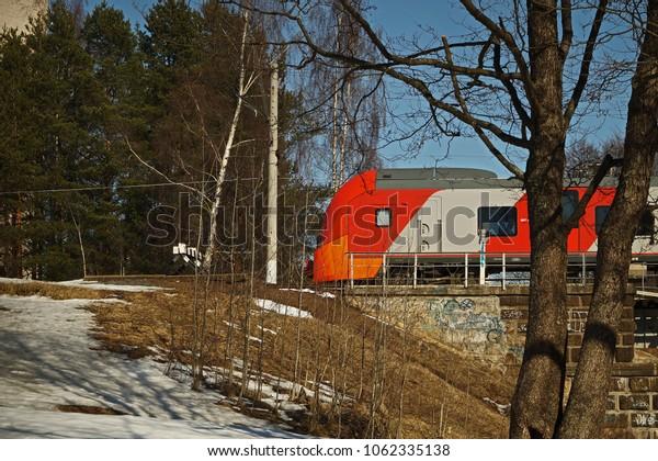 Train goes on railway