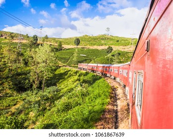 Train goes through tea plantation in Nuwara Eliya district, Sri Lanka. Tea production is one of the main sources of foreign exchange for Sri Lanka (formerly called Ceylon)