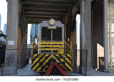 Train in the historic district of Toronto.
