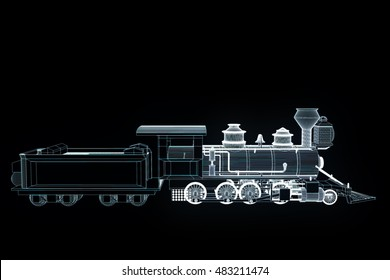 Train in Hologram Wireframe Style. Nice 3D Rendering