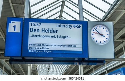 Train information sign Amstel station Amsterdam, February 22th, 2017