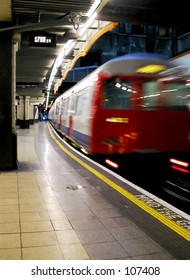 Train leaving a London Underground station