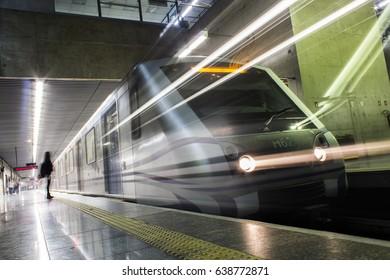 Train leaving the plataform at Tatuape Subway Station, Sao Paulo, Brazil - 2016