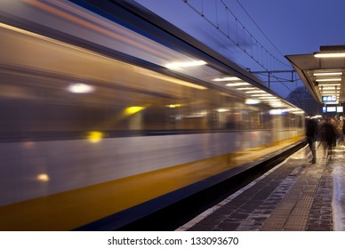 Train leaving train station