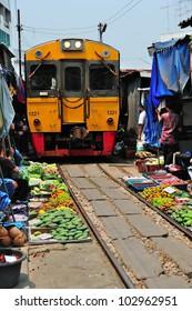 Train Market in Thailand