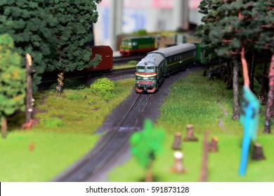 Train model on the railway