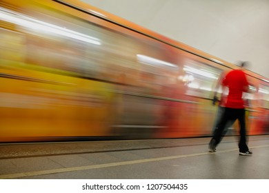 Train in motion in the subway as an abstract background