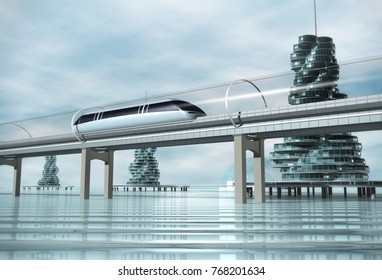 The train moving on the overpass and the city on the water. Concept of modern transport. Futuristic landscape. 3d rendering image