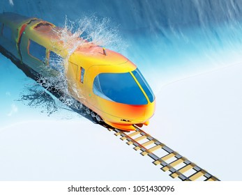The train is moving out of the wave.,3d render