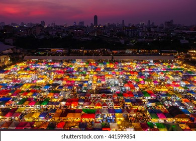 The Train night market Ratchada at Bangkok Thailand in the night time.