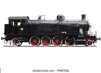 Train, old locomotive isolated on white, clipping path included