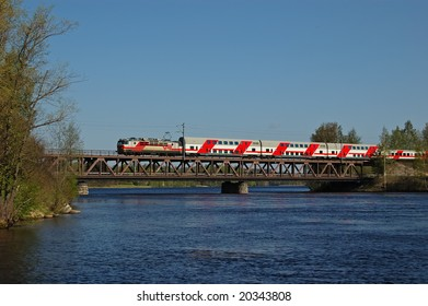 Train on the bridge over Vuoksi river, Imatra, South Karelia county, Finland