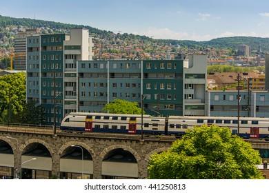 Train on a bridge in Zurich (Switzerland)