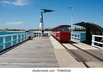 Train on Busselton jetty, WA, Australia.  Longest jetty in the southern hemisphere.