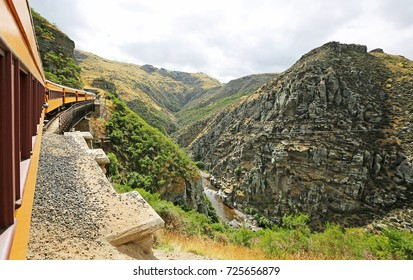 A train on a cliff - Taieri River Gorge, New Zealand