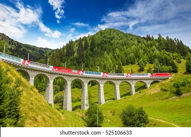 Train on famous landwasser Viaduct bridge.The Rhaetian Railway section from the Albula/Bernina area (the part from Thusis to Tirano, including St Moritz), Switzerland, Europe.