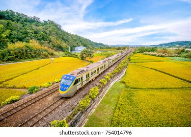 train on the field in miaoli, taiwan