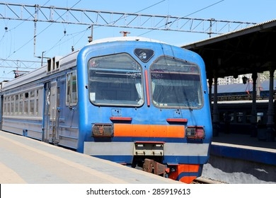 Train on Moscow passenger platform (Yaroslavsky railway station), Russia-- is one of nine main railway stations in Moscow, situated on Komsomolskaya Square.