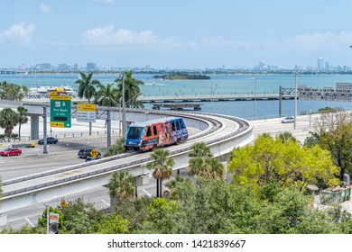 train on rail in miami florida over looking the bay and south beach in the background