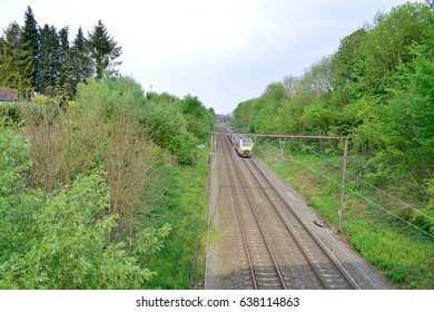 Train on the railroad with nature background.