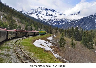 Train on a Railway in Alaskan Mountains, United States