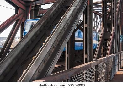 Train on the railway bridge