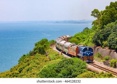 Train on the railway near Fangshan Station in pingtung, taiwan