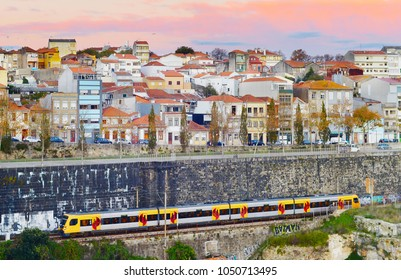 Train on railway in Porto at sunset. Portugal