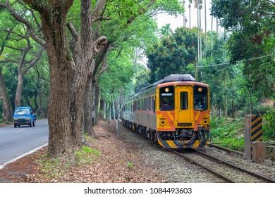 Train in on the Taiwan Railways Administration (TRA) Jiji Line in Taiwan