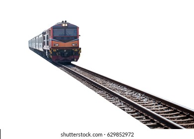 train on the track isolated on white background with clipping path