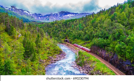Train Oslo - Bergen in mountains. Norway.